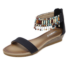 2019 new ladies Roman ethnic style sandals, round head shoes, beaded jewelry shoes, casual shoes Black 39