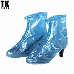 New women's high heel waterproof shoes, waterproof boots, zipper rainboots, shoe care Blue M(Sole 25CM)