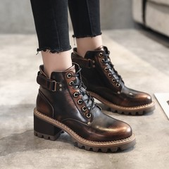 European and American fashionable large-size retro women's short boots metal style low-heeled shoes Coffee 34
