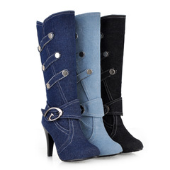 Women's shoes/women's fashionable sexy denim fabric, belt buckle high heel boots black 35