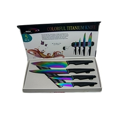 Titanium Kitchen Knife Set With Magnetic Board multi- coloured 5 pcs