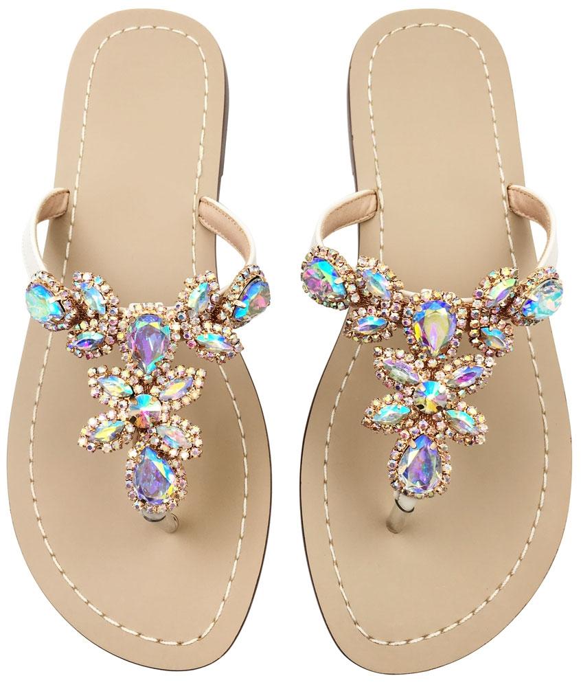 e75077e28aaa Rhinestone SandalsWomen s Flat SandalsFlip FlopJeweled Sandals gold ...