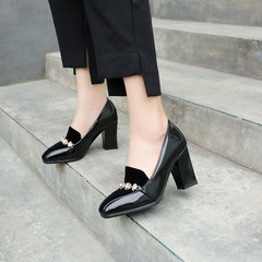 Patent leather square head high heel rhinestone single shoes shallow mouth red wedding shoes black 35