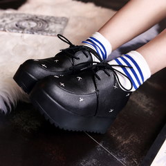 Women's lace-up flats casual lazy shoes high-heeled platform women's shoes black 35