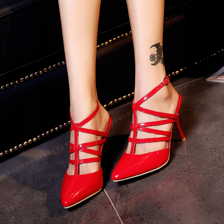 8285ca1fab27 Pointed high heels buckle stage performance shoes red wedding shoes hollow women s  shoes red 35