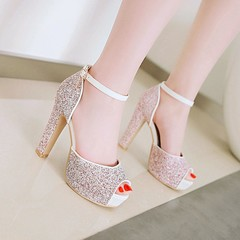 Fish mouth high heels sequined hollow sandals waterproof platform women's shoes red 35