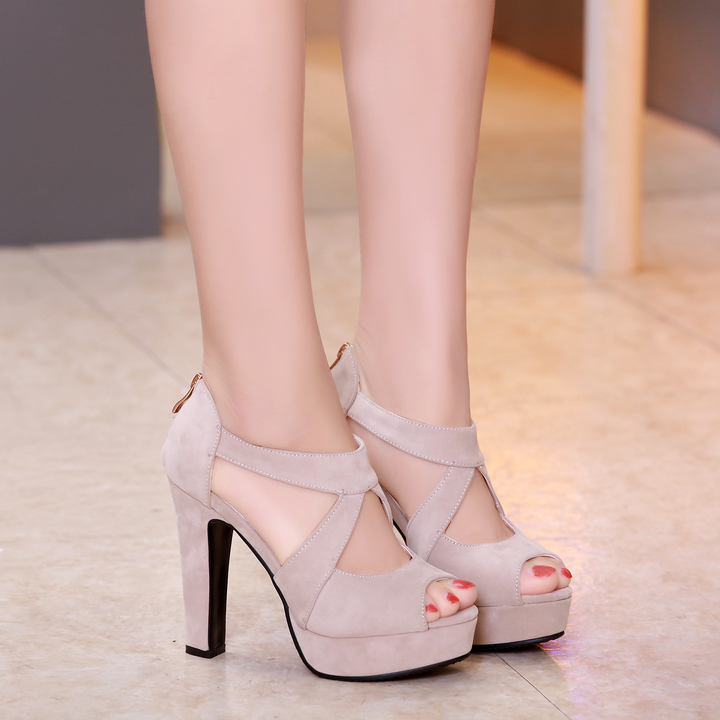 3ce06e1fd3f Fish mouth high heels hollow thick base square sandals 12cm beige 35 ...