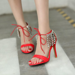 Women's open-toe high heels, rhinestone fringed sandals, laced red wedding shoes 10cm red 35