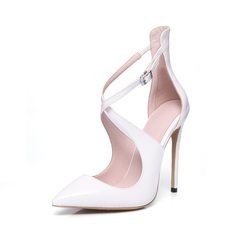 2019 new pointed high-heeled sandals hollow patent leather fashion shoes 12cm white 35