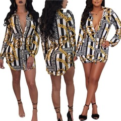Women's casual long-sleeved printed irregular shirts and African jackets multi XXXL