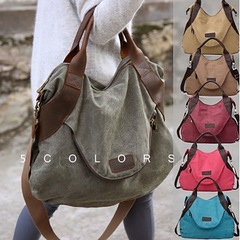 2018  Large Pocket Casual Tote Women's Handbag Shoulder Handbags Canvas Leather Capacity Bags Lake blue-large one size