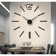 Creative DIY 3D Wall Clock Big Wall Clock Free Size Living Room Fashion Wall Clock black one size black one size