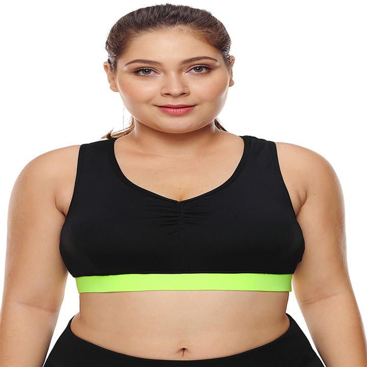 authorized site buy popular great fit One Piece High Support Racer Back Women Sports Bra Plus Size Pullover  Sportswear Yoga Bra Tops black l