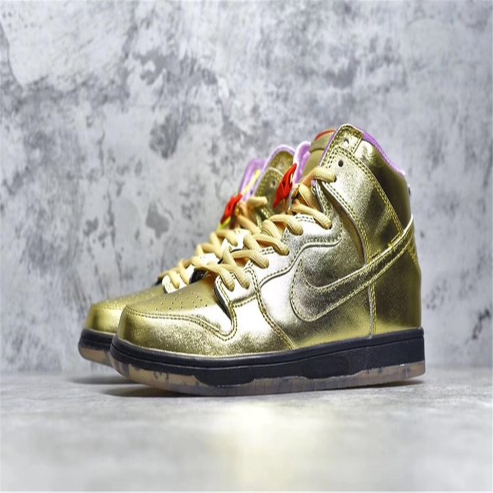 "buy popular c2e24 3ee45 Men's Sports Shoes Humidity x nk SB DunkHigh ""Trumpet"" High-cut Fashion  Sneakers Basketball Shoes gold eu 36"