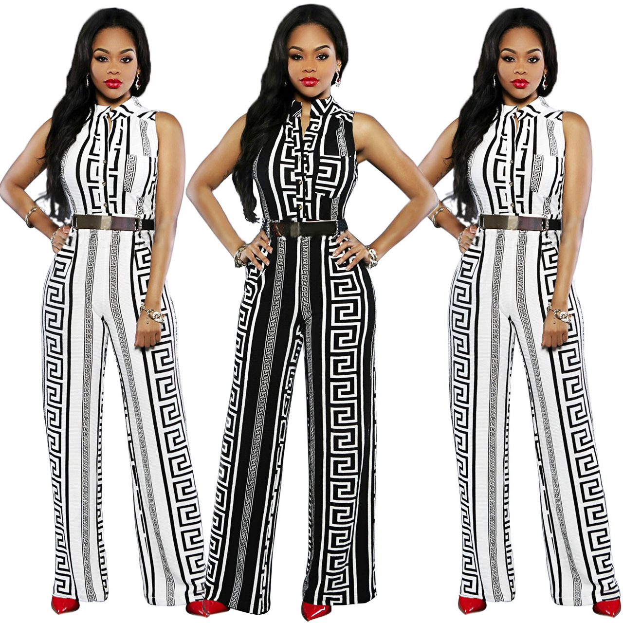 5df976c704ba Women straight-leg printed jumpsuit loose office lady with belt ...