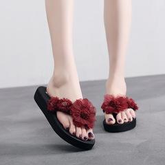 Women's Slippers Wedge Platform Thong Flip Flops Sandals Shoes Beach Casual Open Toe Flat Outside pattern 1 36