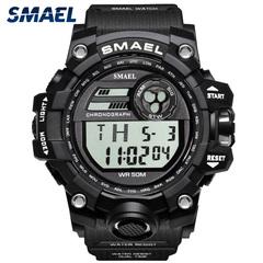 SMAEL Sport Watches Men's Quartz Digital Analog Clock Military Watch  Waterproof Multifunctional Black ONE SIZE