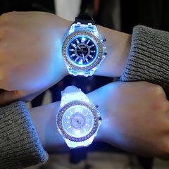 Fashion trend luminous luminous personality rhinestone led men and women couple quartz watch black one size
