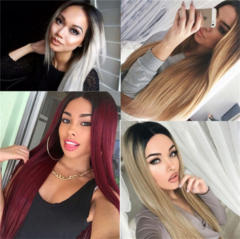 New Women's Long Straight Hair Color Gradient Wig Cover Hair Delivery Network Black Gradient Flax one size