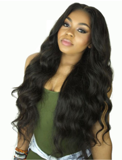 New wig with long curly hair, black high temperature silk head, big wave straight hair black one size