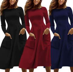 Autumn and Winter New Women's Dresses Hot Selling Long Sleeve Zipper Pocket Dresses S Black