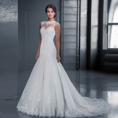 The new high-necked lace slim fishtail drag tail wedding dress size customization show thin m white