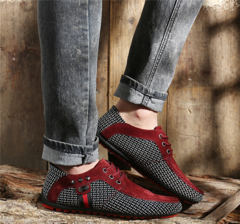 New breathable men's beanshoes British casual shoes lace-up fashion trend large size men's shoes red 40