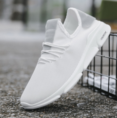 New men's shoes fashion men's casual shoes comfortable Korean breathable running shoes white 39
