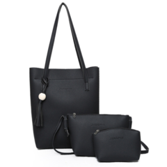 Bucket PU female bag three-piece set fashion single-shoulder bag cross handbag black one size