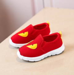 The new boys' and girls' breathable slip - on shoes red 26