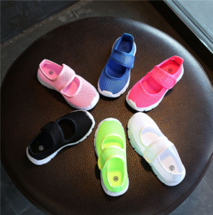 New candy-colored girls' elastic slip-on shoes for boys and girls' net shoes pink 26