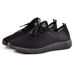 2019 men's net shoes hollow sneakers fashion running shoes men's casual sneakers black 39