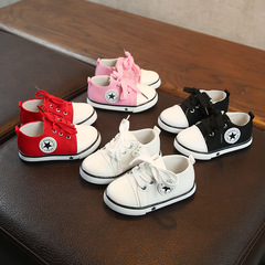 Children canvas shoes cow tendon sole girl boy casual shoes lace-up star sport shoes pink 21