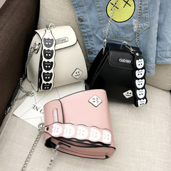New chain smiley face small square bag fashion joker ladies cross shoulder bag cartoon bag white one size