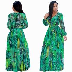 Women New Fashion Chiffon Long Skirt Digital Printing Big Swing Skirt Dresses Large Size l b