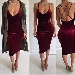 Spring And Summer New Women Low-cut V-neck Sling Dress Nightclub Sexy Gold Velvet Skirt l wine red