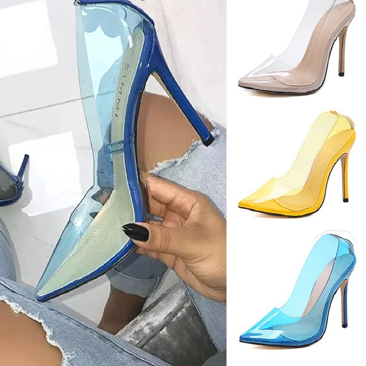 Women Shoes New Transparent Pointed Three-color Fine Super High Heels yellow 36