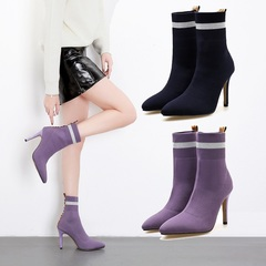 Fashion Women Short Boots New Pointed Sexy Nightclub Stiletto Shoes dark blue 36