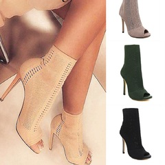 Women Cool Boots Early Autumn Hollow Knit Wool Fish Mouth High Heels black 36