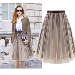 Fashion Lady Tulle Skirts Womens Sexy Long Pleated Skirt Summer Elastic High Waist Mesh Tutu Skirt one color m