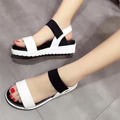 Summer Casual Sandals Women Flat Shoes Peep-Toe Sandalias Roman Sandals Ladies Flip Flops Footwear white 35
