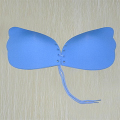 Fashion Women Clothes Sexy Invisible Chest Sticker Silicone Push Up Seamless Bra Backless Lingerie blue B cup