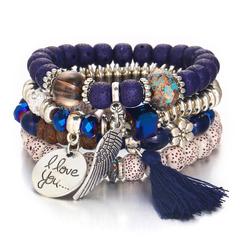 Bracelet 2019 Set 4 Pcs/Set Natural Crystal Opals Bracelet  Fashion Vintage Ethnic Female Jewellery blue one size