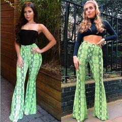Trousers 2019 Women Fashion High Waist Snake Print Flare Trousers Sexy Bodycon Leggings Club Pants Green s