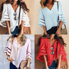 V Neck Flared Sleeves Mesh Patchwork Shirts Plus Size Casual Loose Mesh Women Blouse white s