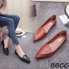 Crazy Price Reduction Women fashion Pointed Shoes Ballerina Ladies shoes Single Student Work Shoes Brown 40