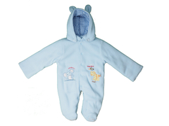 M/Easy POLAR FLEECE QUILTING BABY COAT WITH CAP LIGHT BLUE