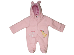 M/Easy POLAR FLEECE QUILTING BABY COAT WITH CAP PINK