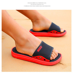Summer Slippers, Indoor and Outdoor Bathroom Slippers, Men's Sandals Black red 40