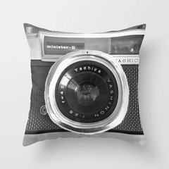 Sofa Pillow Case Retro Black and White Record Camera Style Home Bedding Pillow Sofa Cushion Cover 1 45*45cm Cover and Pillow